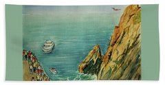 Acapulco Cliff Diver Bath Towel by Frank Hunter