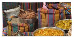 Hand Towel featuring the photograph Acco Acre Israel Shuk Market Spices Stripes Bags by Paul Fearn