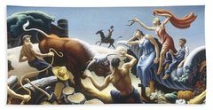 Achelous And Hercules Hand Towel by Thomas Benton