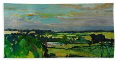 Across The Valley, Bedfordshire, 1973 Oil On Canvas Hand Towel
