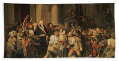 Act Of Courage Of Monsieur Defontenay, Mayor Of Rouen, 29th August 1792 Oil On Canvas Hand Towel