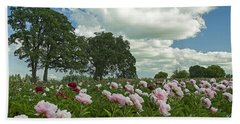 Adleman's Peony Fields Hand Towel by Nick  Boren