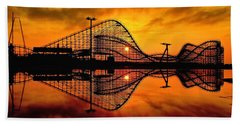 Adventure Pier At Sunrise Bath Towel by Nick Zelinsky