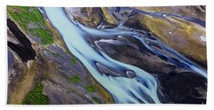 Aerial Photo Of Iceland  Hand Towel