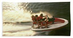 Aerial View A Family Racing Bath Towel