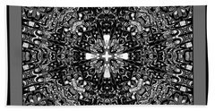 Bath Towel featuring the digital art Aerial View Kaleidoscope Black And White by Joy McKenzie