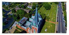 Aerial View Of Angel Guardian Church Hand Towel