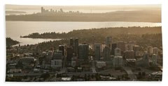 Aerial View Of Bellevue Skyline Bath Towel