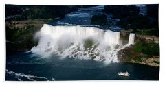 Aerial View Of Niagara Falls And River And Maid Of The Mist Bath Towel