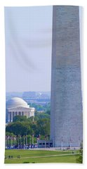 Aerial View Of Washington Monument Hand Towel