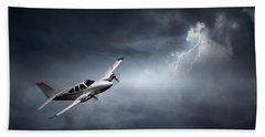 Risk - Aeroplane In Thunderstorm Bath Towel