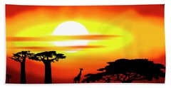 Africa Sunset Hand Towel by Michal Boubin