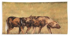 Africa Wild Dogs Hand Towel by David Stribbling