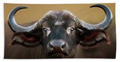 African Buffalo Cow Portrait Hand Towel
