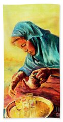 African Chai Tea Lady. Bath Towel