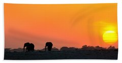 Bath Towel featuring the photograph African Elephant Sunset by Amanda Stadther