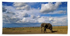 African Elephant Walking Masai Mara Hand Towel