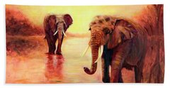 African Elephants At Sunset In The Serengeti Bath Towel by Sher Nasser