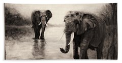 African Elephants At Sunset Bath Towel by Sher Nasser