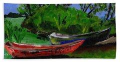 African Fishing Boats Hand Towel