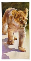 African Lion Cub Bath Towel by Bonnie Rinier