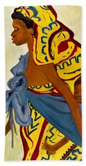 African Mother And Child Bath Towel by Sher Nasser