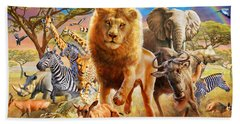 African Stampede Hand Towel by Adrian Chesterman
