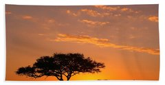 African Sunset Bath Towel by Sebastian Musial