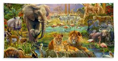 African Watering Hole Hand Towel