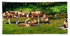 African Wild Dog Family Hand Towel by Miroslava Jurcik