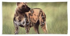 African Wild Dog Painting Bath Towel