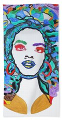 Hand Towel featuring the painting Afro Lauryn Hill  by Stormm Bradshaw
