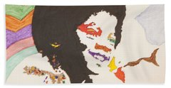 Hand Towel featuring the painting Afro Michael Jackson by Stormm Bradshaw