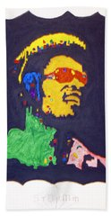 Bath Towel featuring the painting Afro Stevie Wonder by Stormm Bradshaw