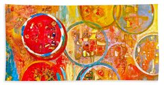 Against The Rain Abstract Orange Hand Towel