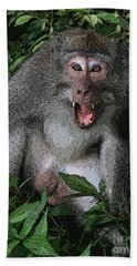 Bath Towel featuring the photograph  Aggressive Monkey From Bali by Sergey Lukashin