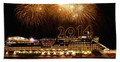 Hand Towel featuring the photograph Aida Cruise Ship 2014 New Year's Day New Year's Eve by Paul Fearn