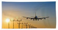 Airplane Landing At Sunset, Canada Bath Towel