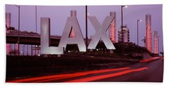 Airport At Dusk, Los Angeles Bath Towel