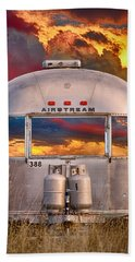 Airstream Travel Trailer Camping Sunset Window View Hand Towel