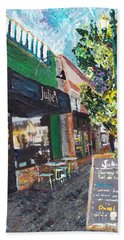 Hand Towel featuring the painting Alameda Julie's Coffee N Tea Garden by Linda Weinstock