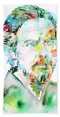 Alan Watts Watercolor Portrait Bath Towel by Fabrizio Cassetta