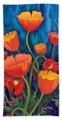 Bath Towel featuring the mixed media Alaska Poppies by Teresa Ascone