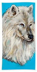 Hand Towel featuring the painting Alaska White Wolf by Bob and Nadine Johnston
