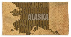 Alaska Word Art State Map On Canvas Hand Towel