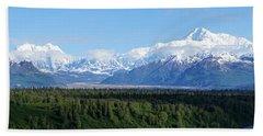 Alaskan Denali Mountain Range Bath Towel by Jennifer White