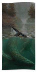 Humpback Whales - Underwater Marine - Coastal Alaska Scenery Bath Towel