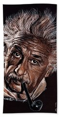 Albert Einstein Portrait Bath Towel