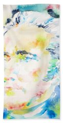 Alexander Hamilton - Watercolor Portrait Bath Towel