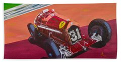 Bath Towel featuring the painting Alfa Romeo Tipo B P3  by Anna Ruzsan